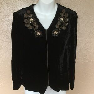 Nanette Lepore Black Velvet Beaded Shirt Top 8 M